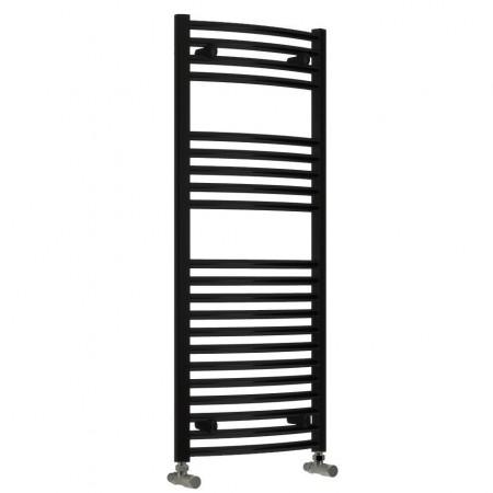 Diva - Black Heated Towel Rail - H1200mm x W600mm - Curved