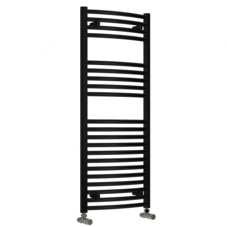 Diva - Black Heated Towel Rail - H1200mm x W600mm - Straight