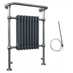 Adara - Anthracite Traditional Electric Towel Radiator - H963mm x W673mm - 600w Standard