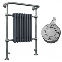 Adara - Anthracite Traditional Electric Towel Radiator - H963mm x W673mm - 600w Thermostatic
