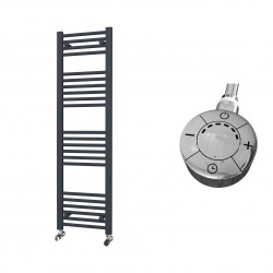 Zena - Anthracite Electric Towel Rail - H1400mm x W400mm - Straight - 600w Thermostatic
