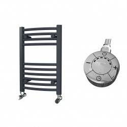 Zeno - Anthracite Electric Towel Rail - H600mm x W400mm - Curved - 300w Thermostatic