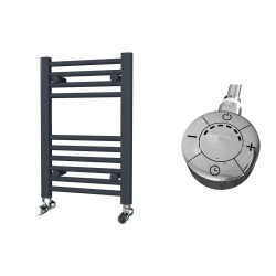 Zena - Anthracite Electric Towel Rail - H600mm x W400mm - Straight - 300w Thermostatic