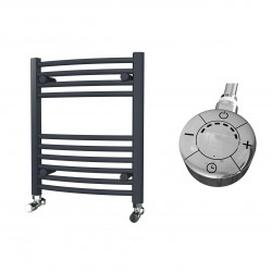 Zeno - Anthracite Electric Towel Rail - H600mm x W500mm - Curved - 300w Thermostatic