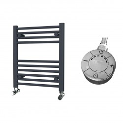 Zena - Anthracite Electric Towel Rail - H600mm x W500mm - Straight - 300w Thermostatic