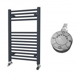 Zena - Anthracite Electric Towel Rail - H800mm x W500mm - Straight - 300w Thermostatic