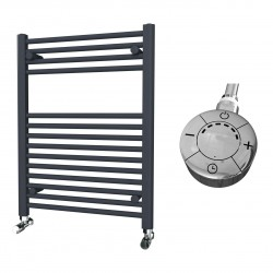 Zena - Anthracite Electric Towel Rail - H800mm x W600mm - Straight - 300w Thermostatic
