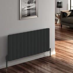 Belva - Anthracite Horizontal Radiator - H600mm x W412mm - Single Panel