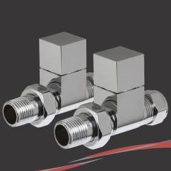Cube - Chrome Thermostatic Radiator Valve - Straight