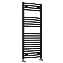 Diva - Black Heated Towel Rail - H1200mm x W600mm - Curved