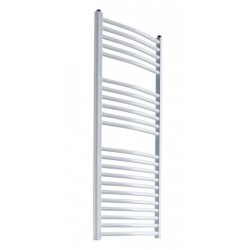 Diva - White Heated Towel Rail - H1200mm x W600mm - Curved
