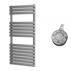 Omega - Silver Electric Towel Rail - H1120mm x W500mm - 600w Thermostatic