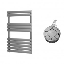 Omega - Silver Electric Towel Rail - H825mm x W500mm - 300w Thermostatic