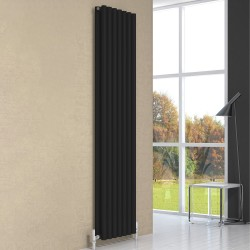 Round - Black Vertical Radiator - H1800mm x W295mm - Single Panel