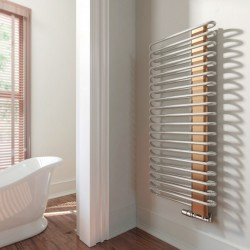 Michelle - Nickle Gloss & Copper Towel Radiator - H1200mm x W500mm