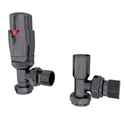 Talus - Black Thermostatic Radiator Valve - Angled
