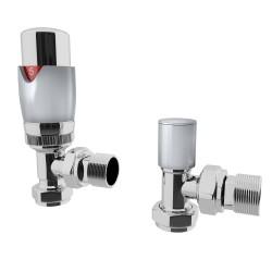 Talus - Silver Thermostatic Radiator Valve - Angled