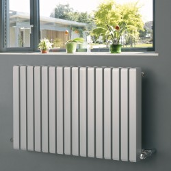 Vulkan Square - Silver Horizontal Radiator - H600mm x W1185mm - Single Panel