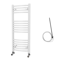 Zeno - White Electric Towel Rail - H1000mm x W400mm - Curved - 400w Standard