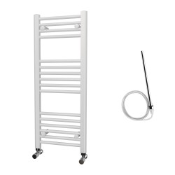 Zena - White Electric Towel Rail - H1000mm x W400mm - Straight - 400w Standard