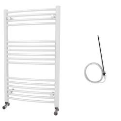 Zeno - White Electric Towel Rail - H1000mm x W600mm - Curved - 600w Standard