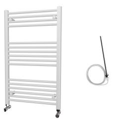 Zena - White Electric Towel Rail - H1000mm x W600mm - Straight - 600w Standard