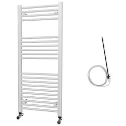 Zena - White Electric Towel Rail - H1200mm x W500mm - Straight - 600w Standard