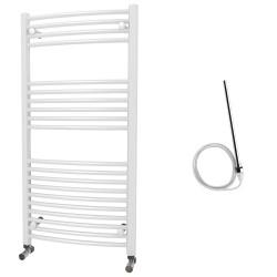 Zeno - White Electric Towel Rail - H1200mm x W600mm - Curved - 600w Standard