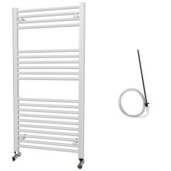 Zena - White Electric Towel Rail - H1200mm x W600mm - Straight - 600w Standard