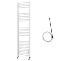 Zeno - White Electric Towel Rail - H1600mm x W400mm - Curved - 600w Standard