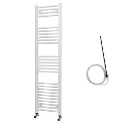 Zena - White Electric Towel Rail - H1600mm x W400mm - Straight - 600w Standard