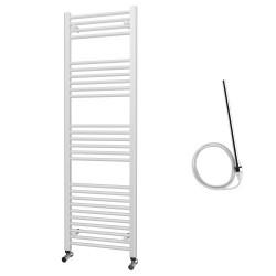 Zena - White Electric Towel Rail - H1600mm x W500mm - Straight - 600w Standard
