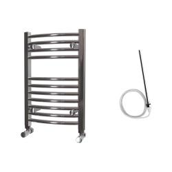 Zeno - Chrome Electric Towel Rail - H600mm x W400mm - Curved - 200w Standard