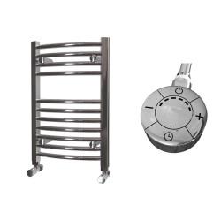 Zeno - Chrome Electric Towel Rail - H600mm x W400mm - Curved - 300w Thermostatic
