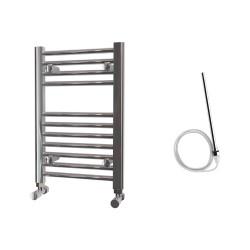 Zena - Chrome Electric Towel Rail - H600mm x W400mm - Straight - 200w Standard
