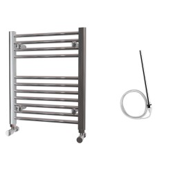 Zena - Chrome Electric Towel Rail - H600mm x W500mm - Straight - 200w Standard