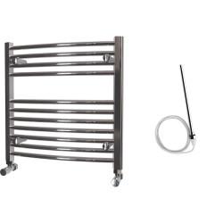 Zeno - Chrome Electric Towel Rail - H600mm x W600mm - Curved - 300w Standard