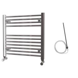 Zena - Chrome Electric Towel Rail - H600mm x W600mm - Straight - 300w Standard