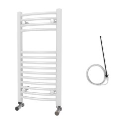 Zeno - White Electric Towel Rail - H800mm x W400mm - Curved - 400w Standard