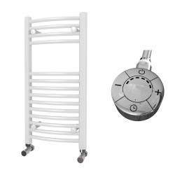 Zeno - White Electric Towel Rail - H800mm x W400mm - Curved - 300w Thermostatic