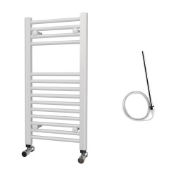 Zena - White Electric Towel Rail - H800mm x W400mm - Straight - 300w Standard