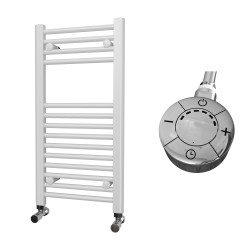 Zena - White Electric Towel Rail - H800mm x W400mm - Straight - 300w Thermostatic