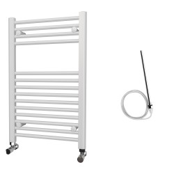 Zena - White Electric Towel Rail - H800mm x W500mm - Straight - 400w Standard
