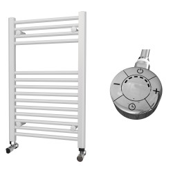 Zena - White Electric Towel Rail - H800mm x W500mm - Straight - 300w Thermostatic