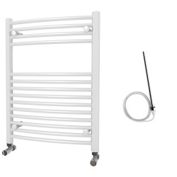 Zeno - White Electric Towel Rail - H800mm x W600mm - Curved - 300w Standard