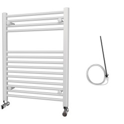 Zena - White Electric Towel Rail - H800mm x W600mm - Straight - 500w Standard