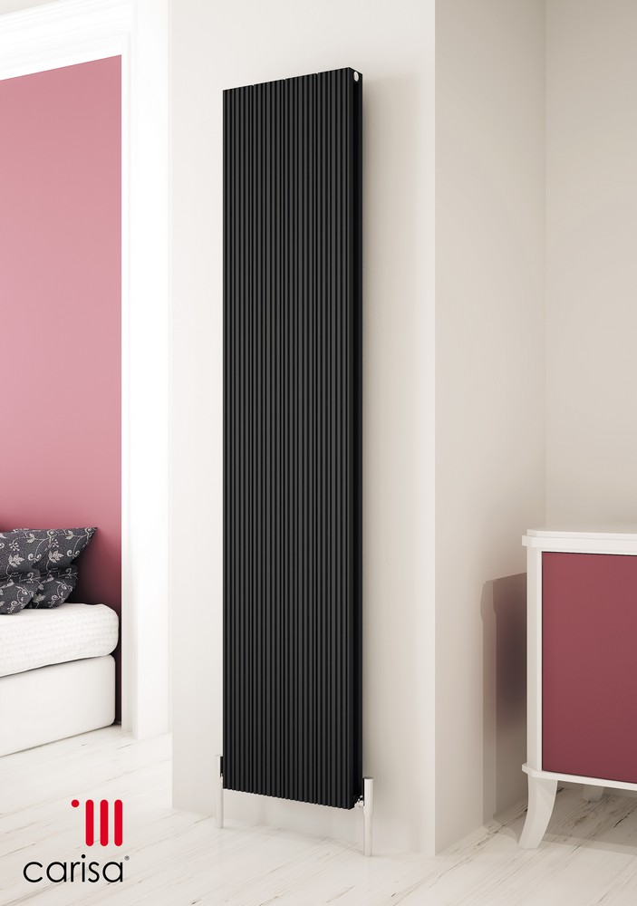 Carisa Monza Black Vertical Designer Radiator 1800mm x