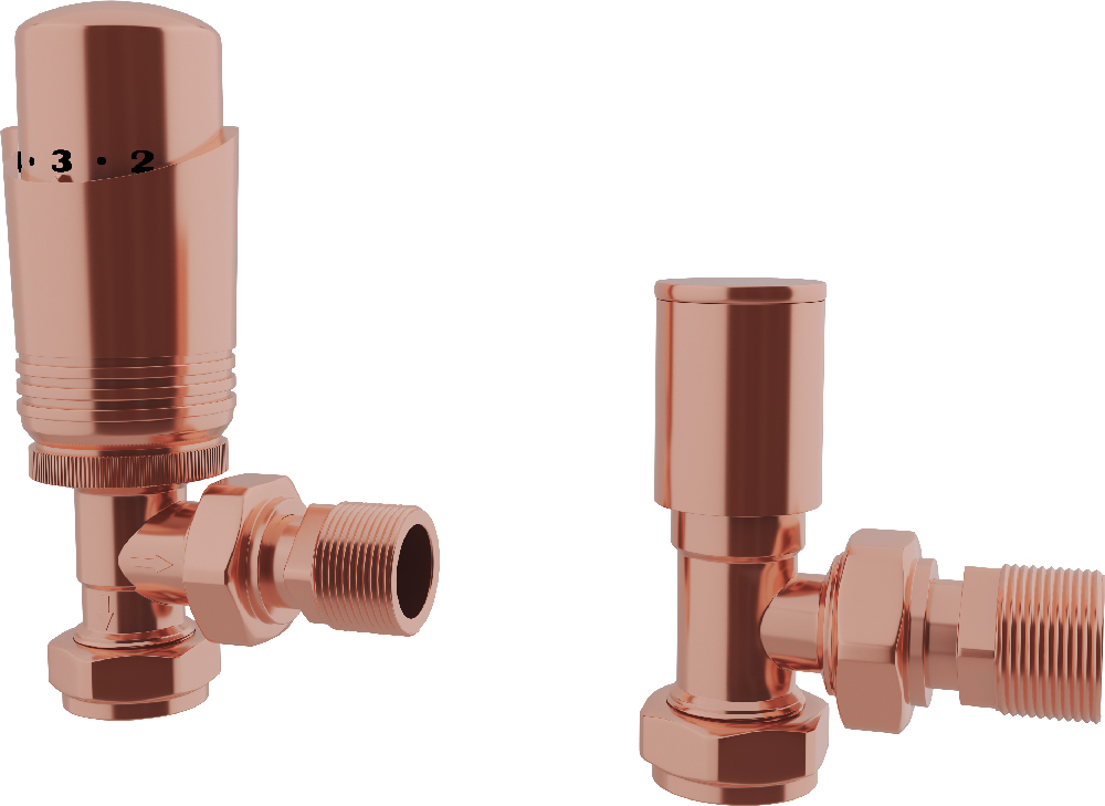 Talus - Copper Thermostatic Radiator Valves Angled