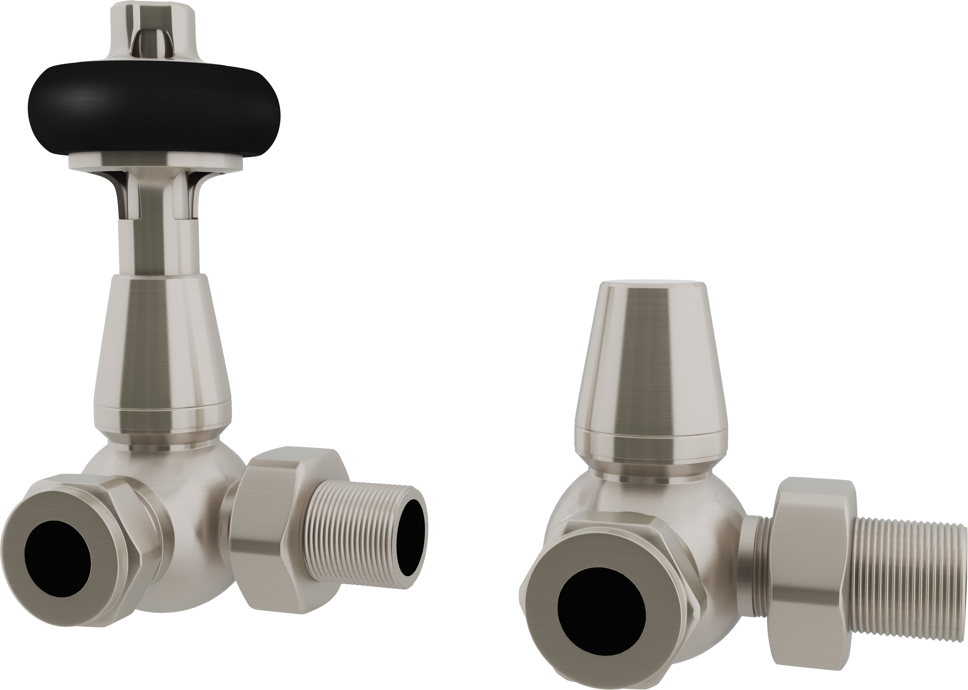 Signature Wooden Head - Silver Nickel Thermostatic Radiator Valves Corner