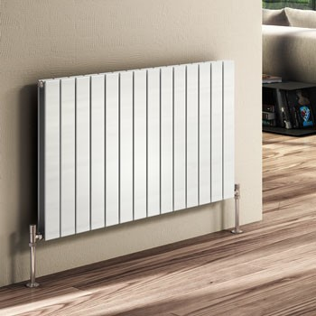Horizontal flat panel radiator - white